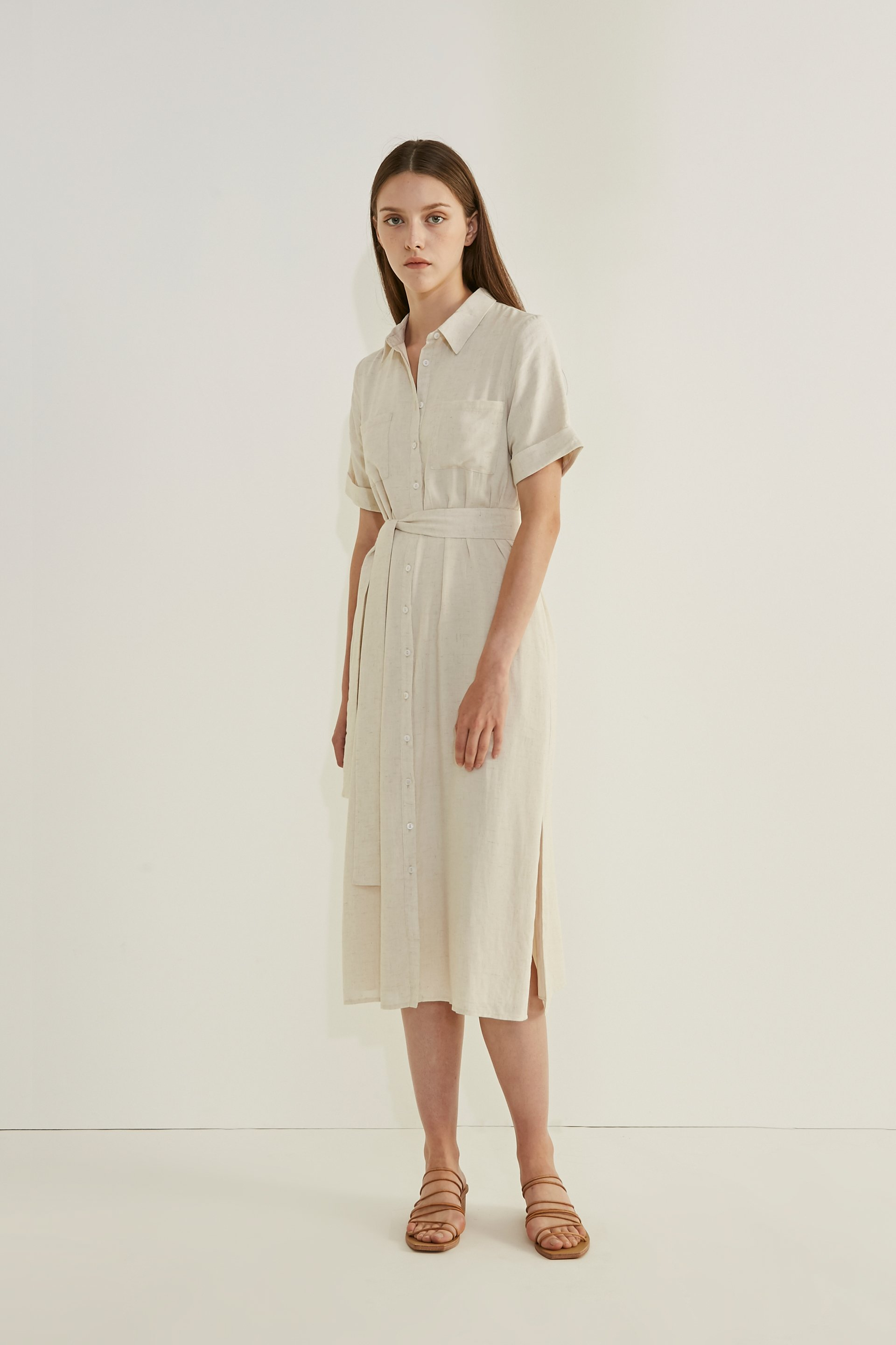 Linen Button-Down Shirt Dress