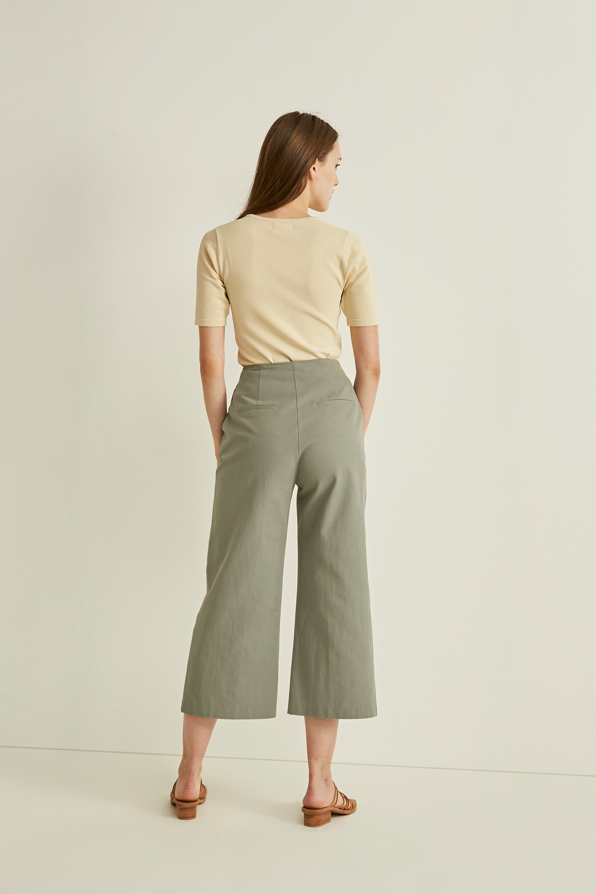 Cotton High-Waisted Culottes