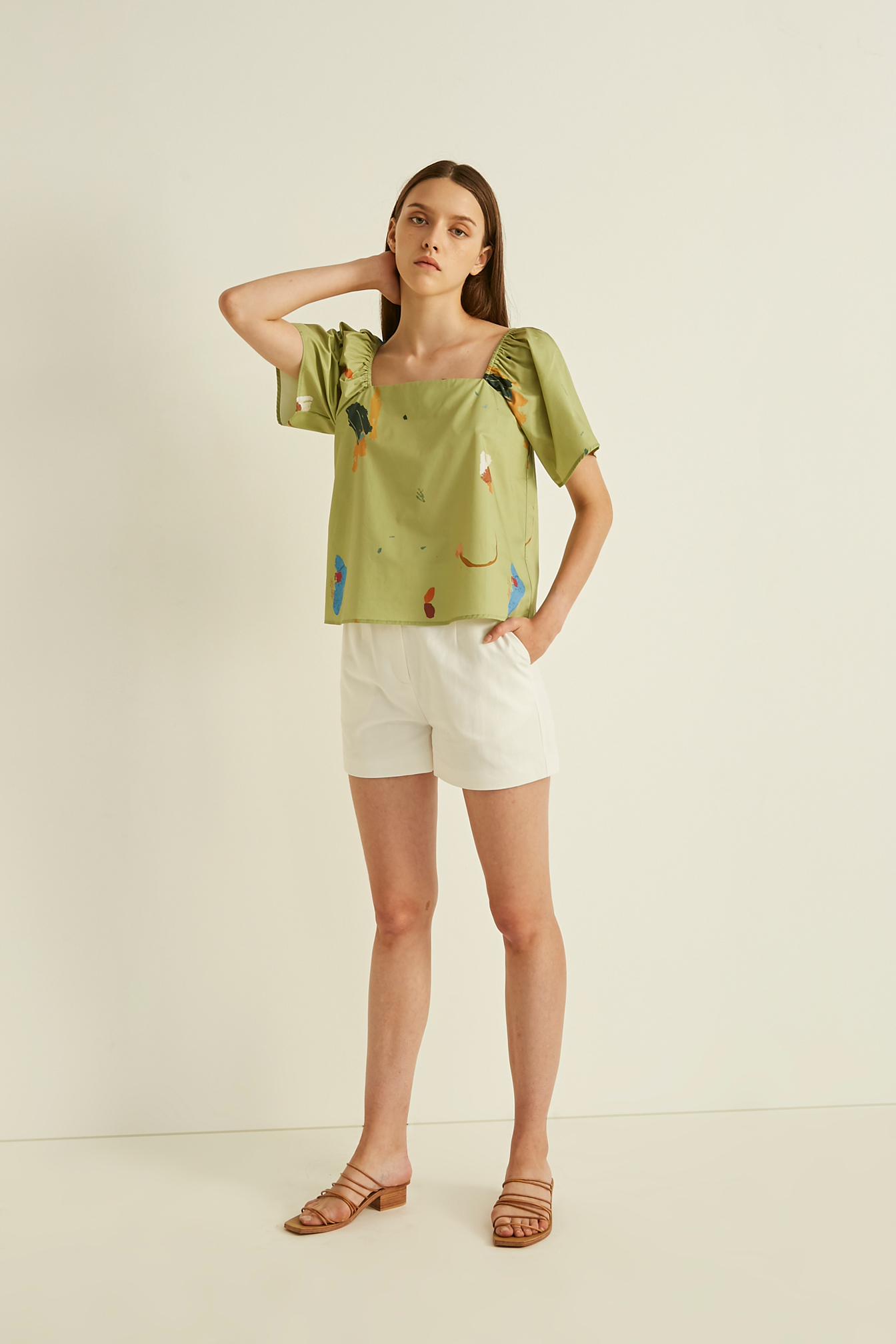 Fragments Cotton Square-Neck Top