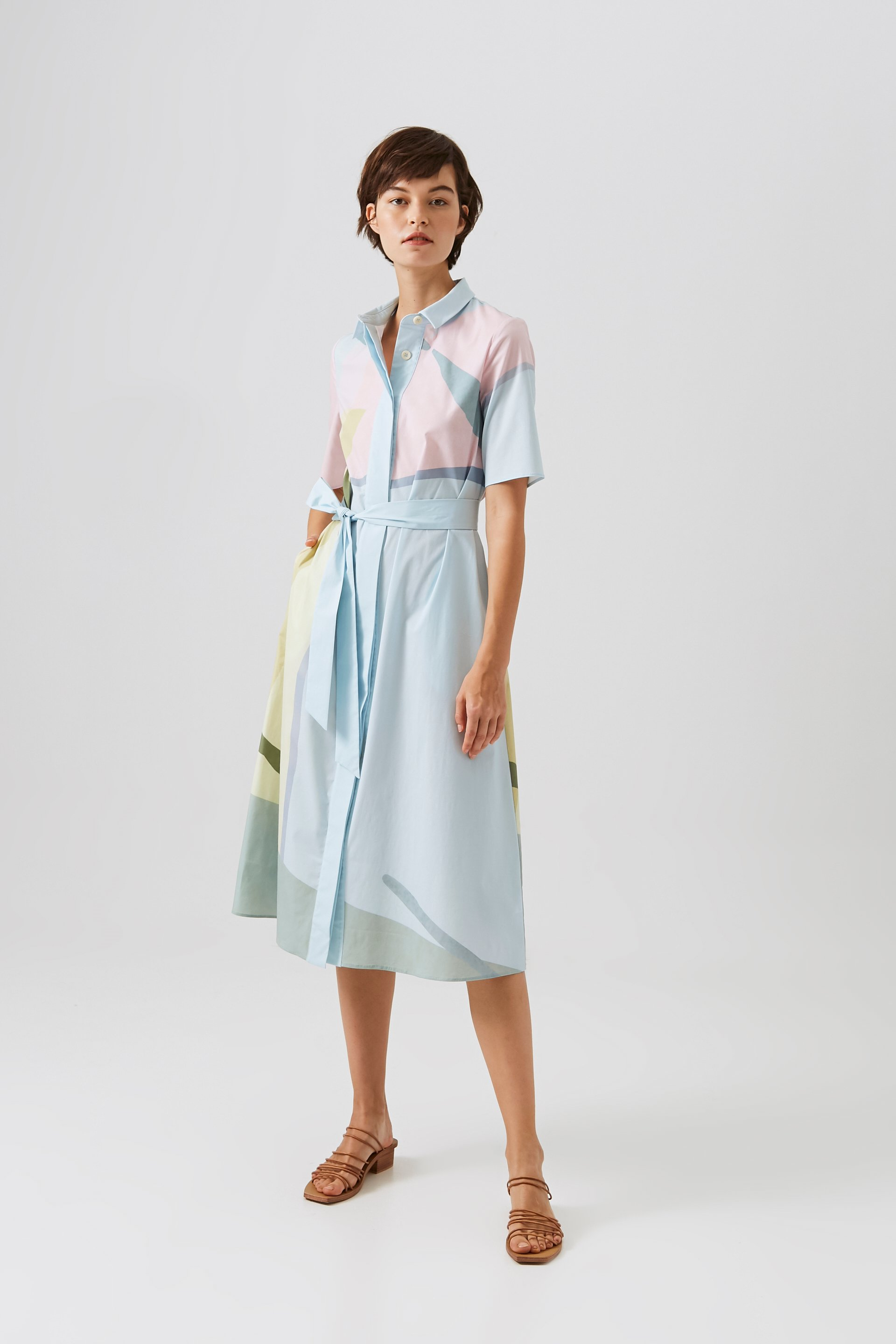 Mountains Cotton Button-Down Dress