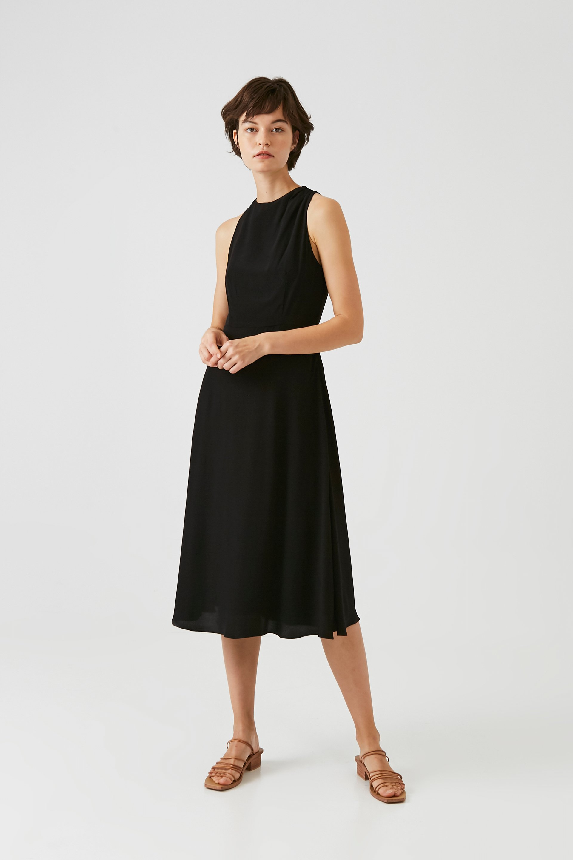 One-Shoulder Pleat Midi Dress