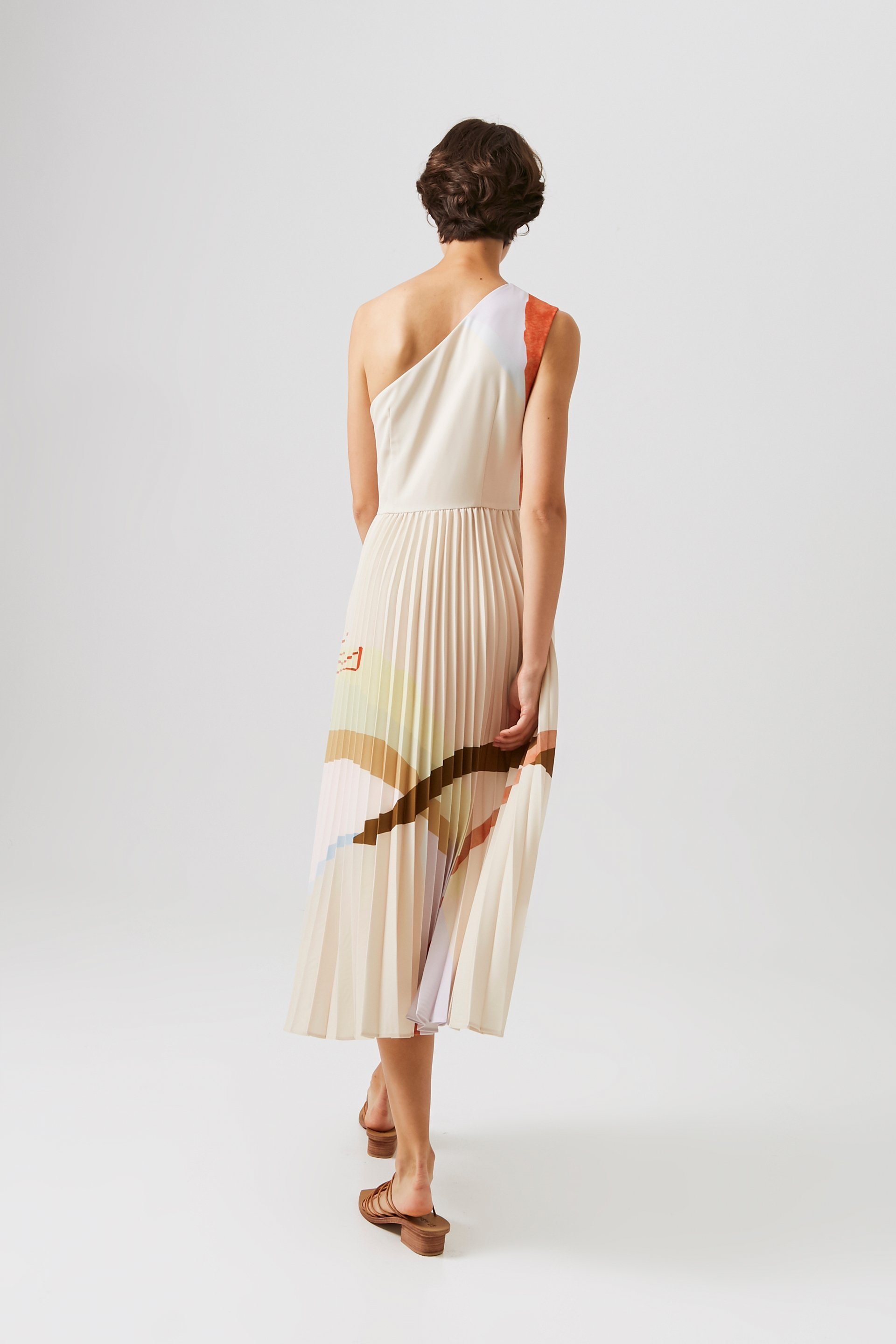 Mountains One-Shoulder Pleated Dress [Online Exclusive]