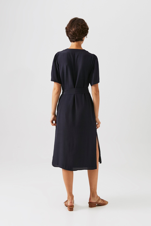 Pleat Sleeve Button-Down Midi Dress