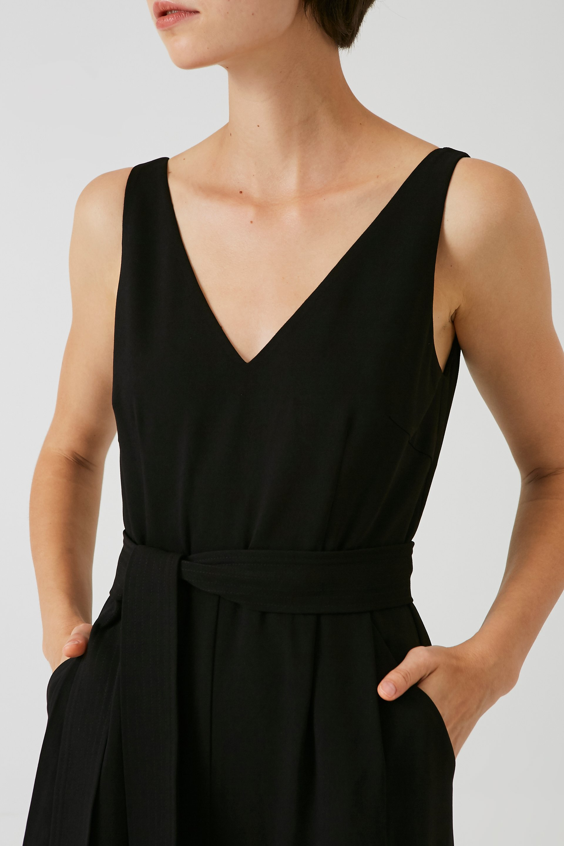 V-Neck Crepe Jumpsuit