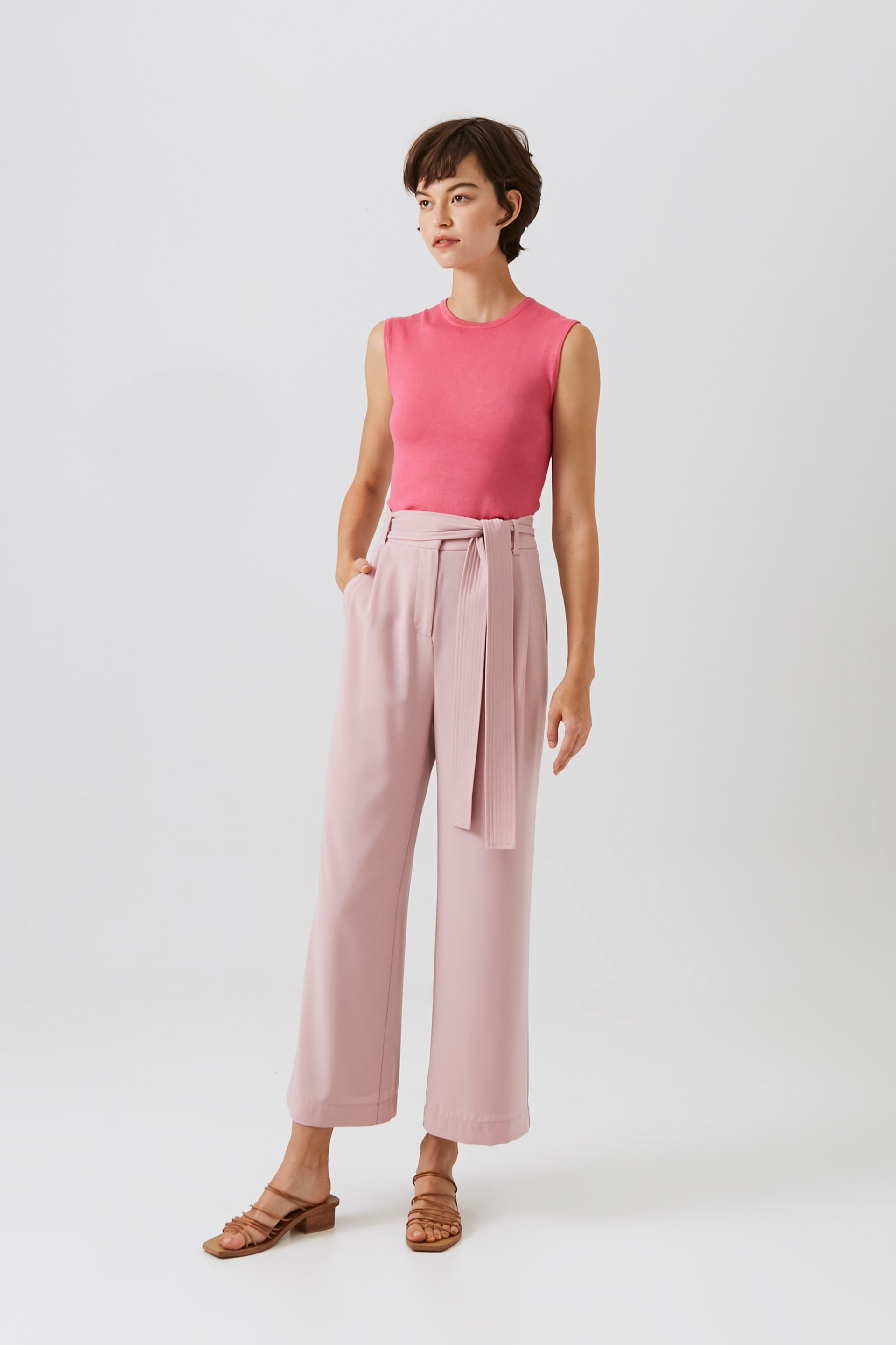 Crepe High-Waisted Longline Pants