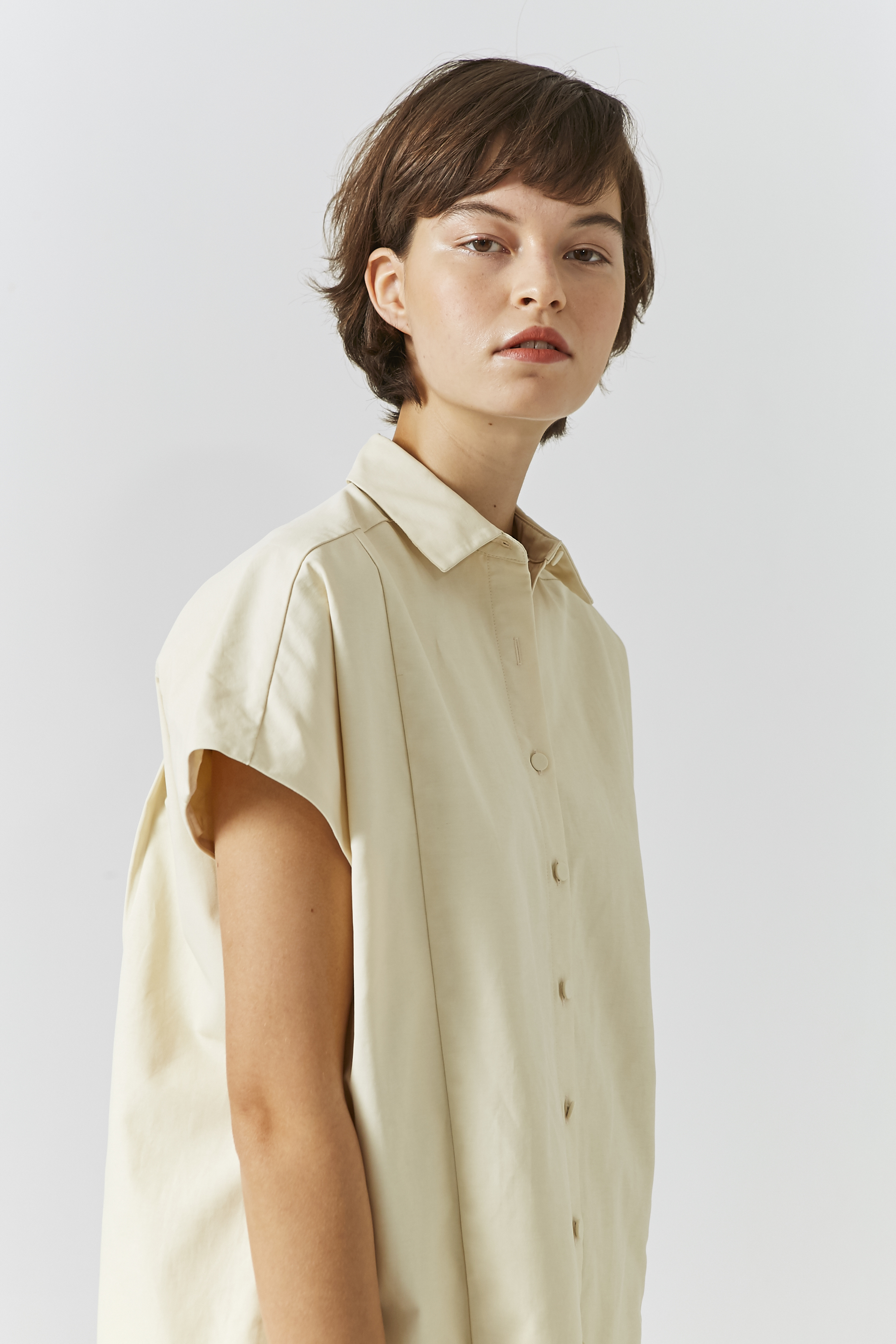 Cotton Button-Down Shift Dress