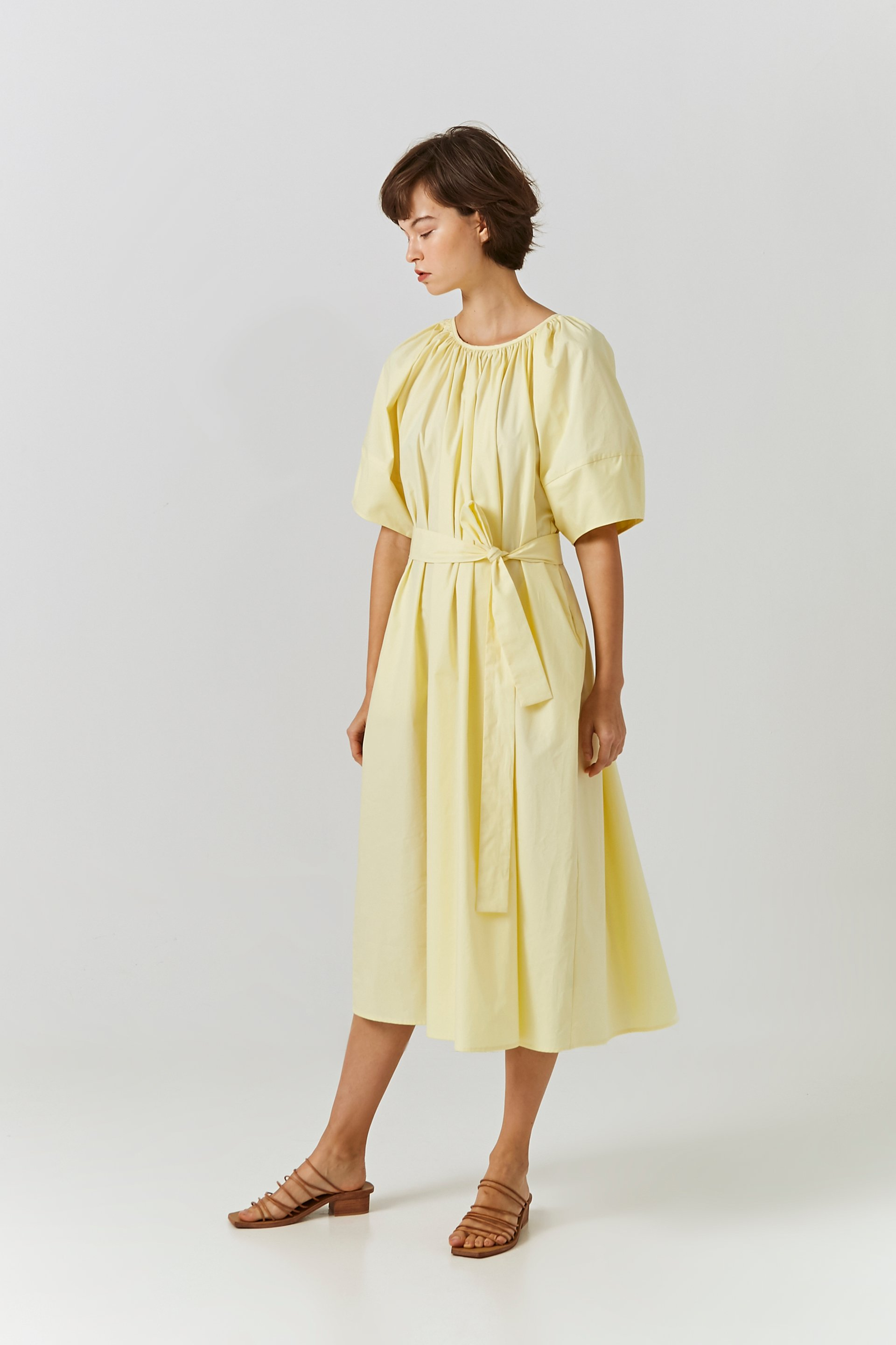 Cotton Puff Sleeve Midi Dress