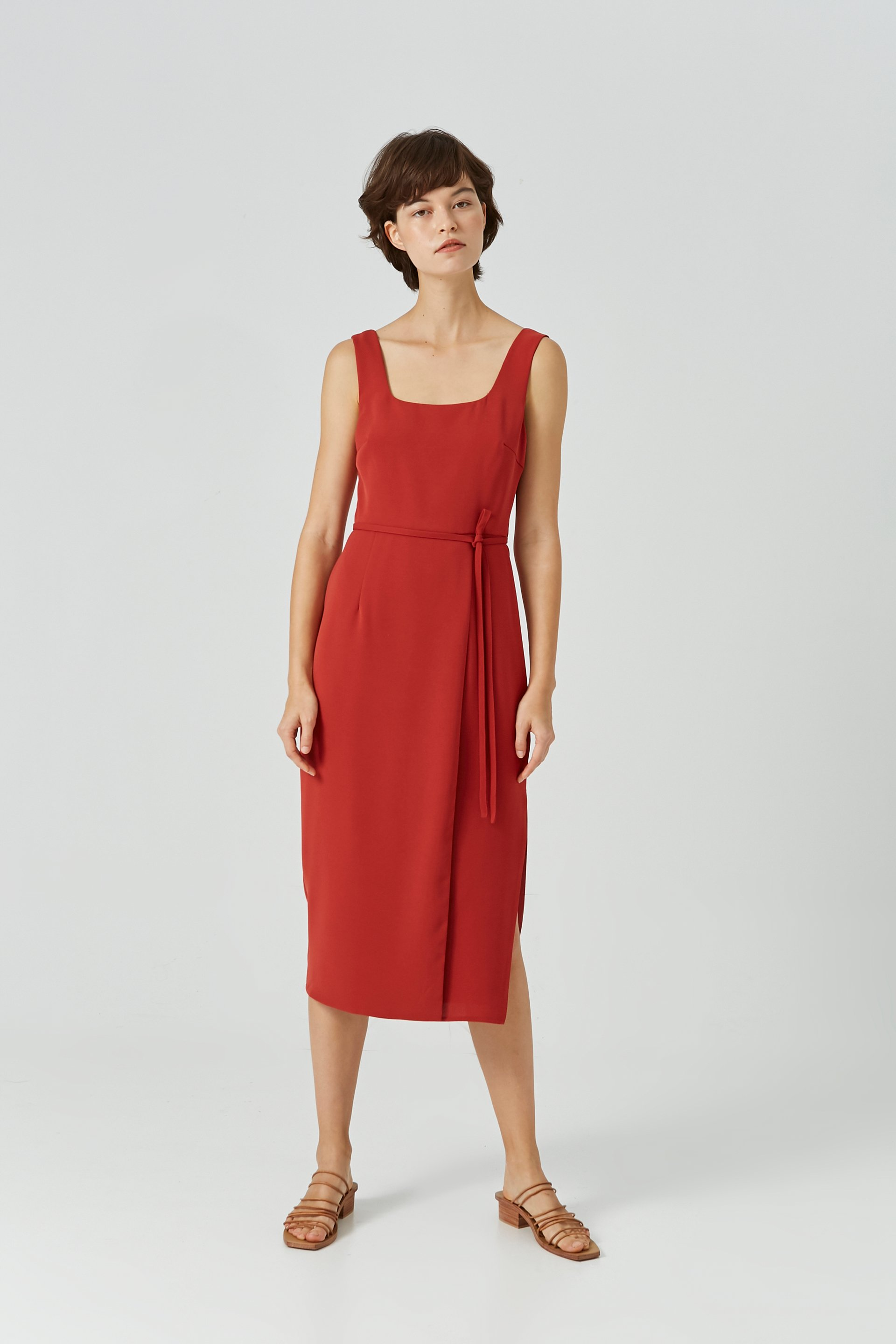 Square-Neck Overlap Midi Dress