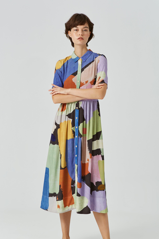 Lightyear Viscose Button-Down Midi Dress