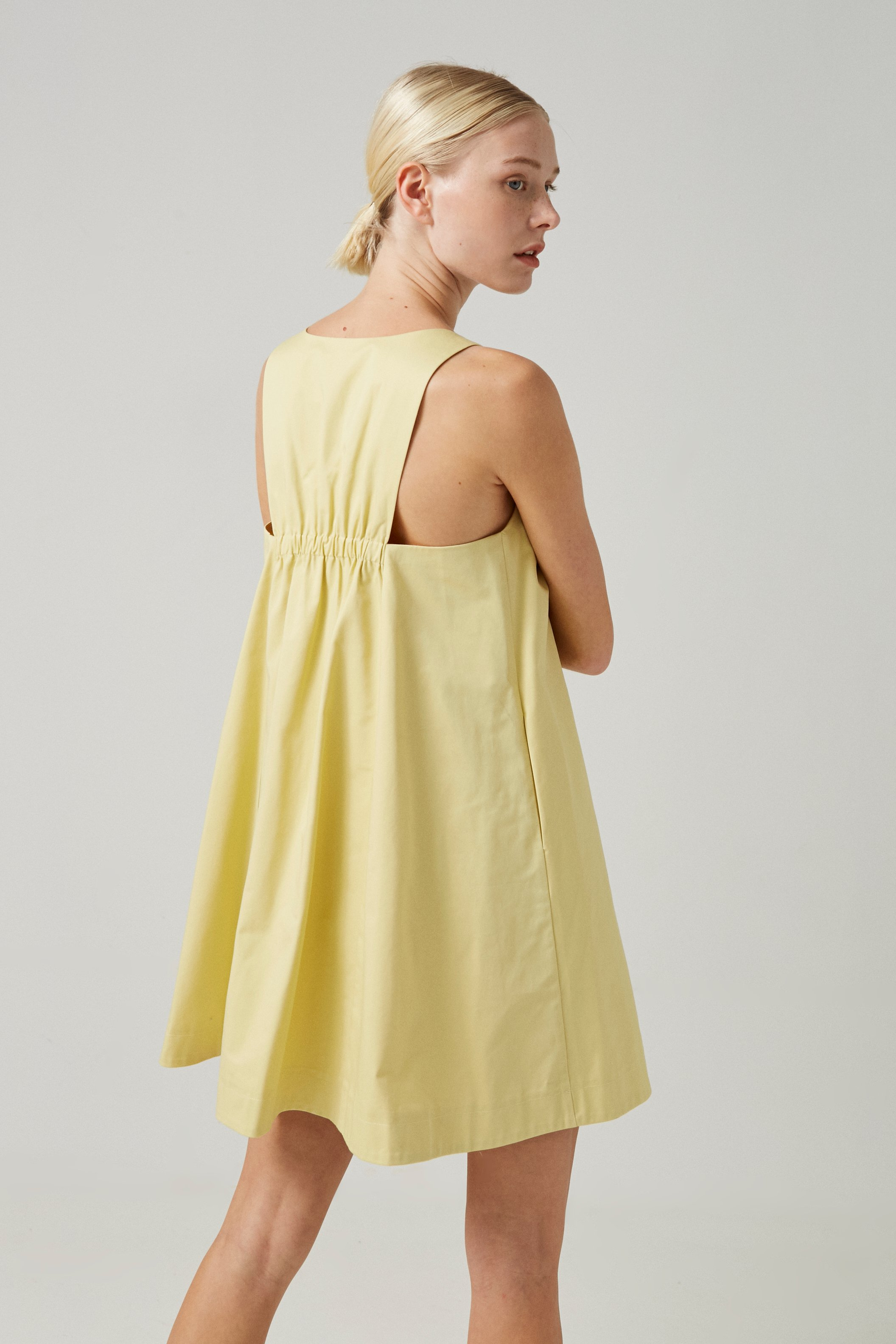 Cotton Gathered-Back Shift Dress
