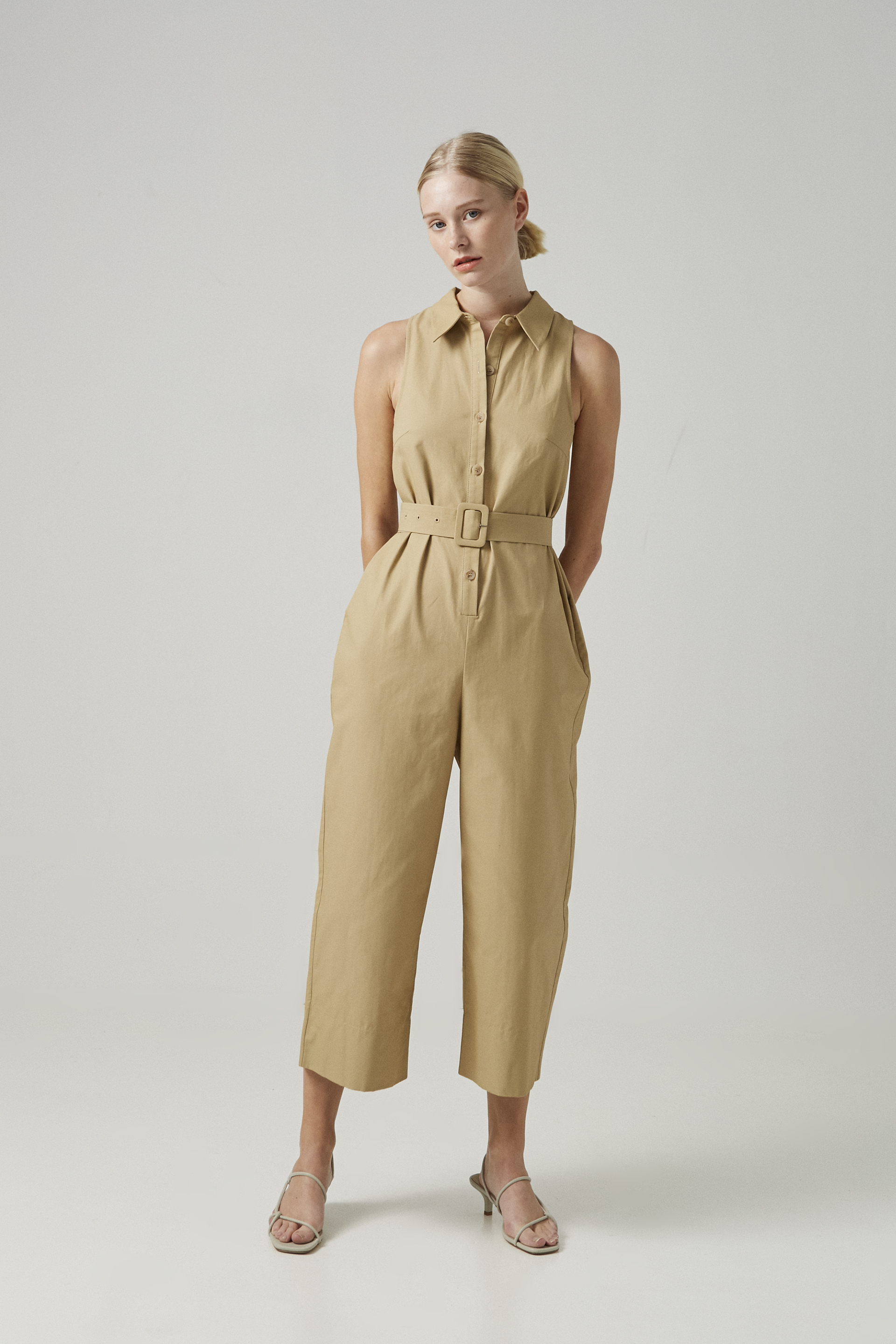 Cotton Belted Jumpsuit