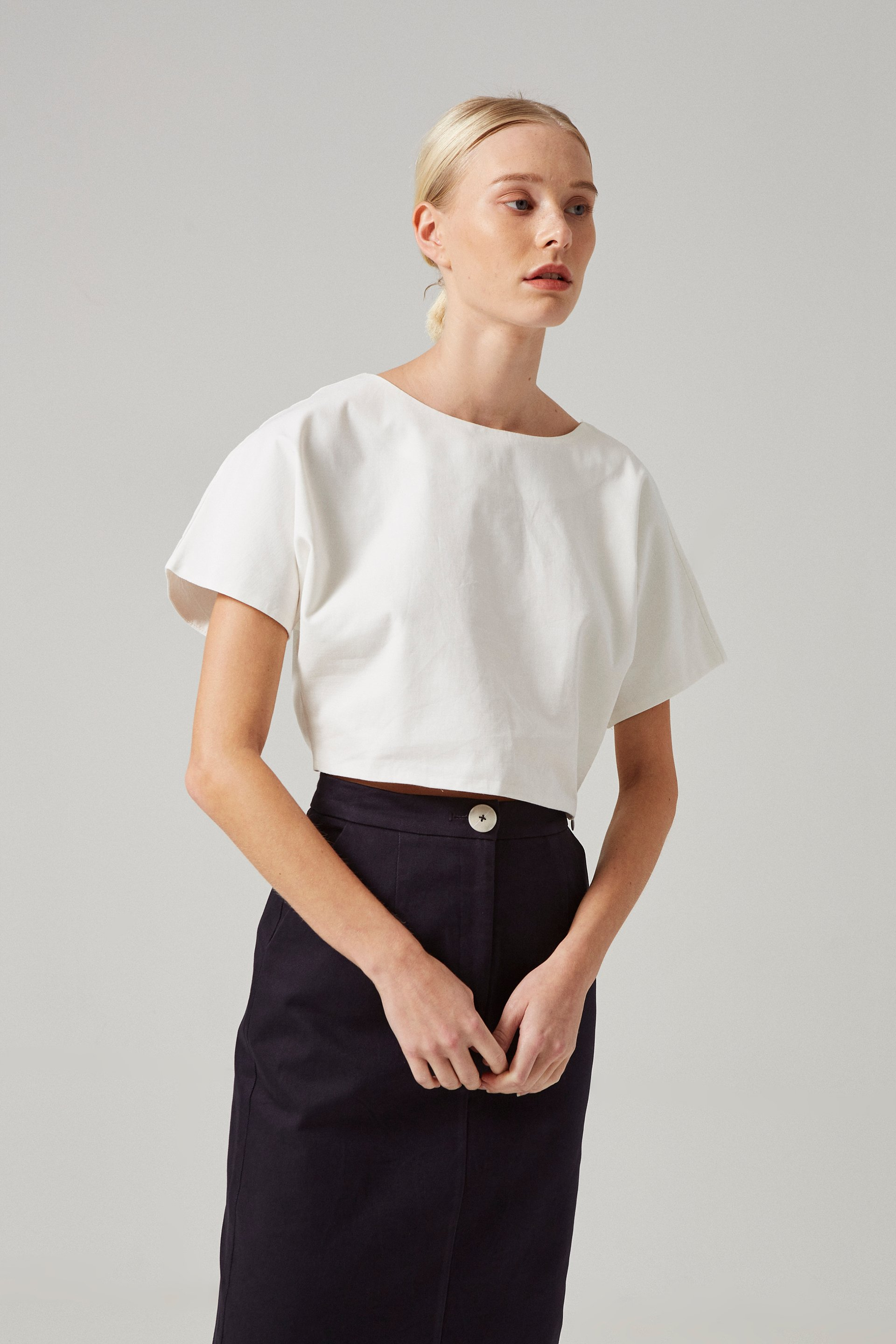 Cotton Twill Cropped Top