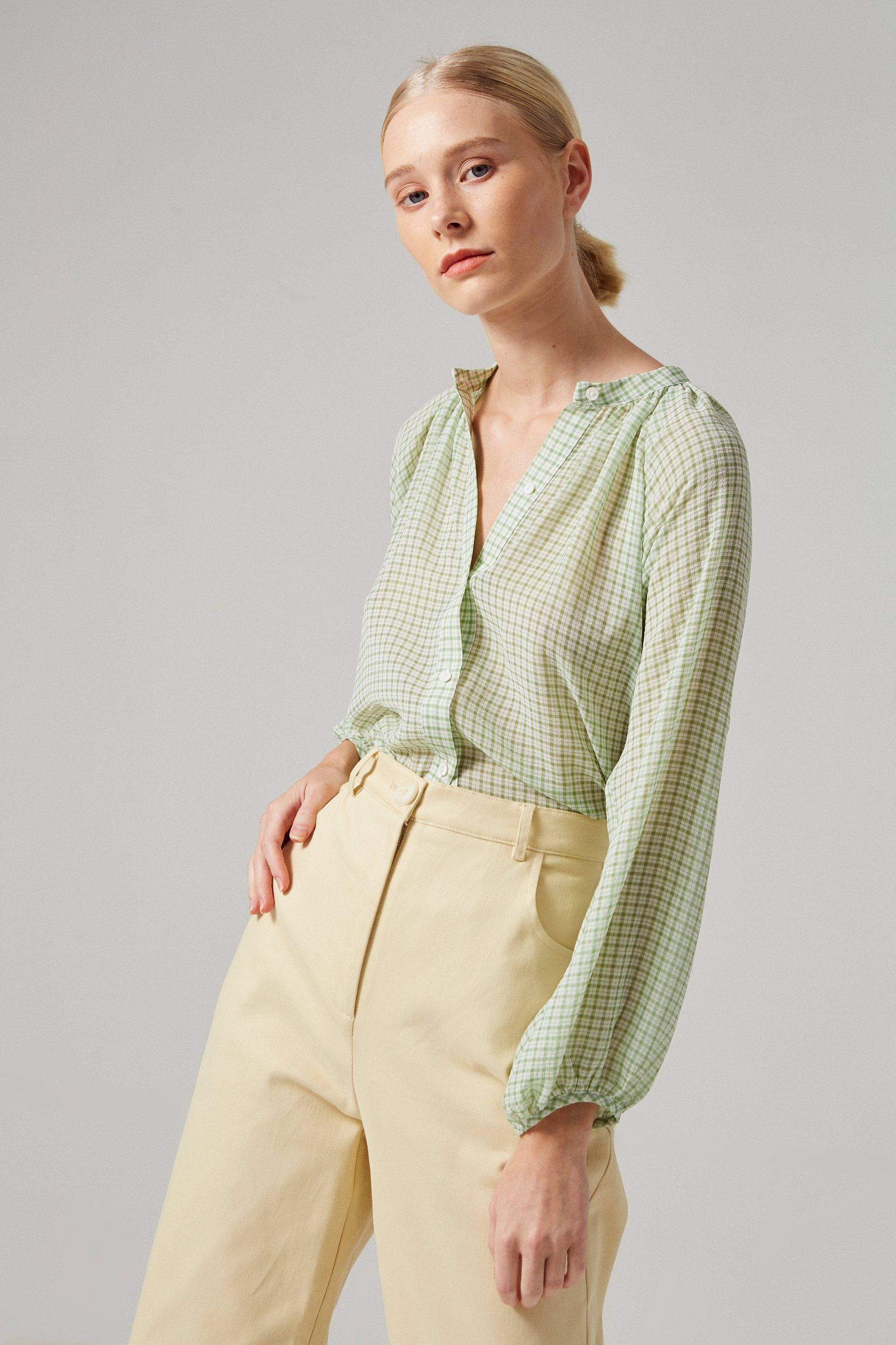 Gingham Billowy Blouse