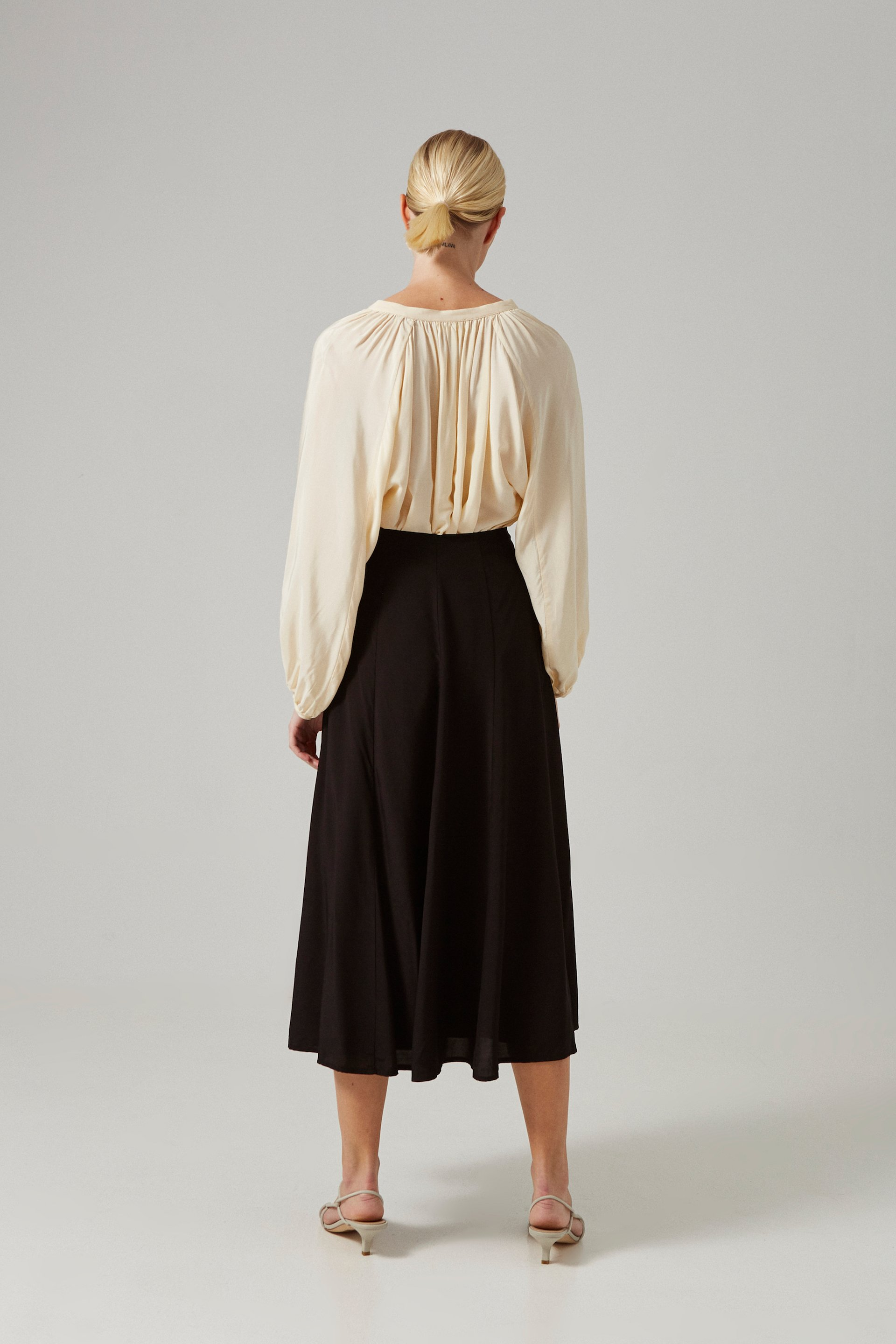 Viscose Panelled Midi Skirt