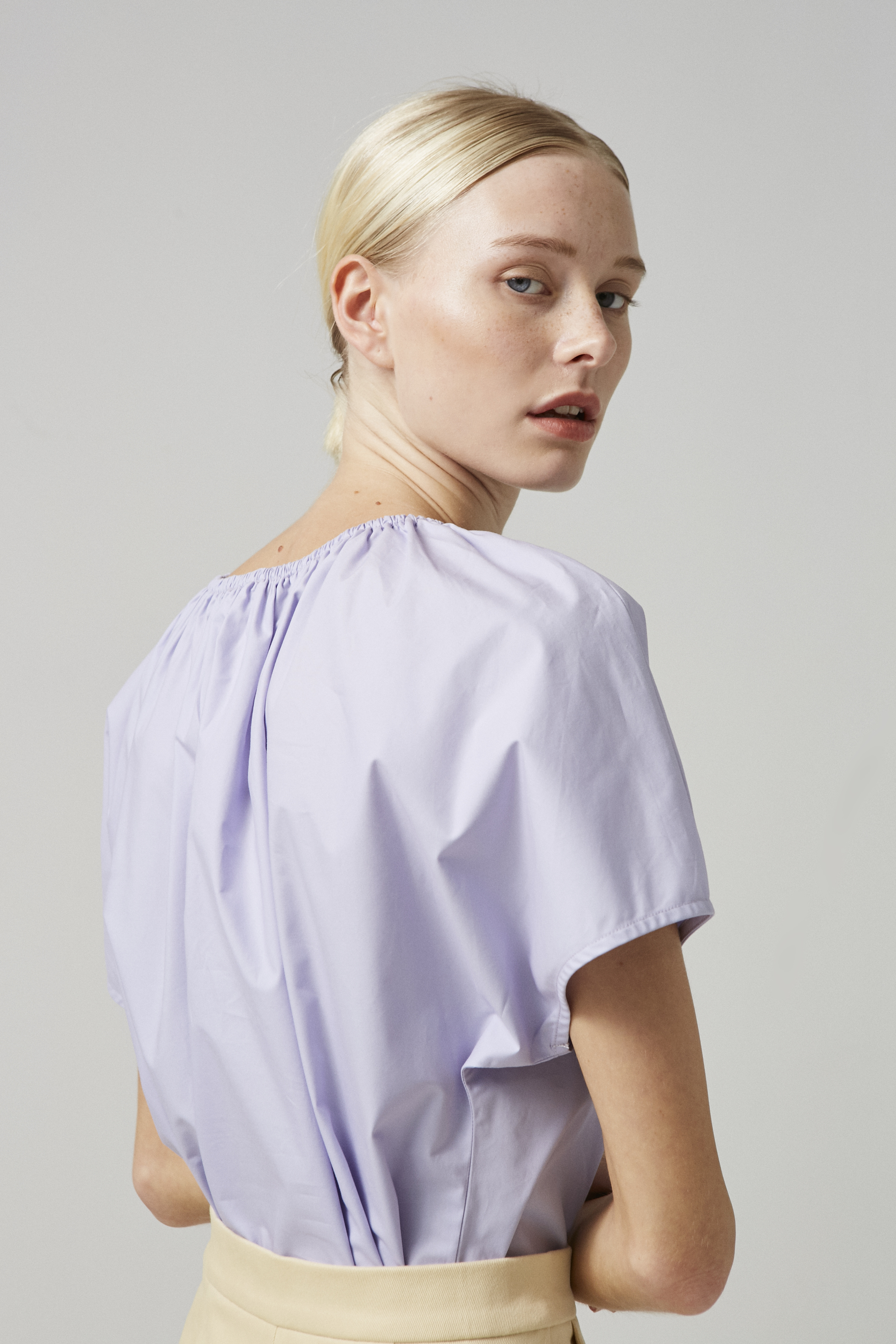 Cotton Gathered Cropped Top