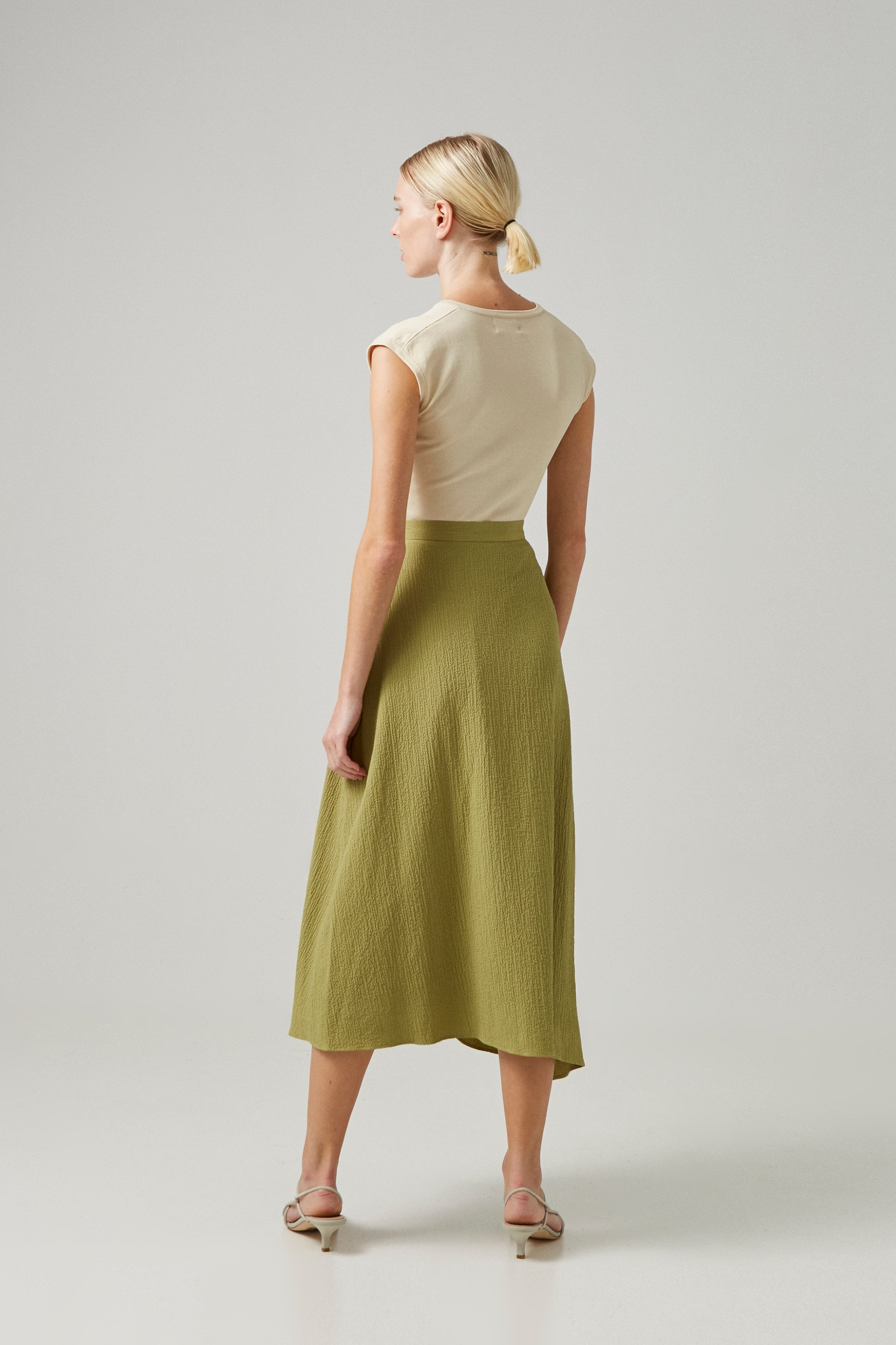 Asymmetrical Textured Wrap Skirt