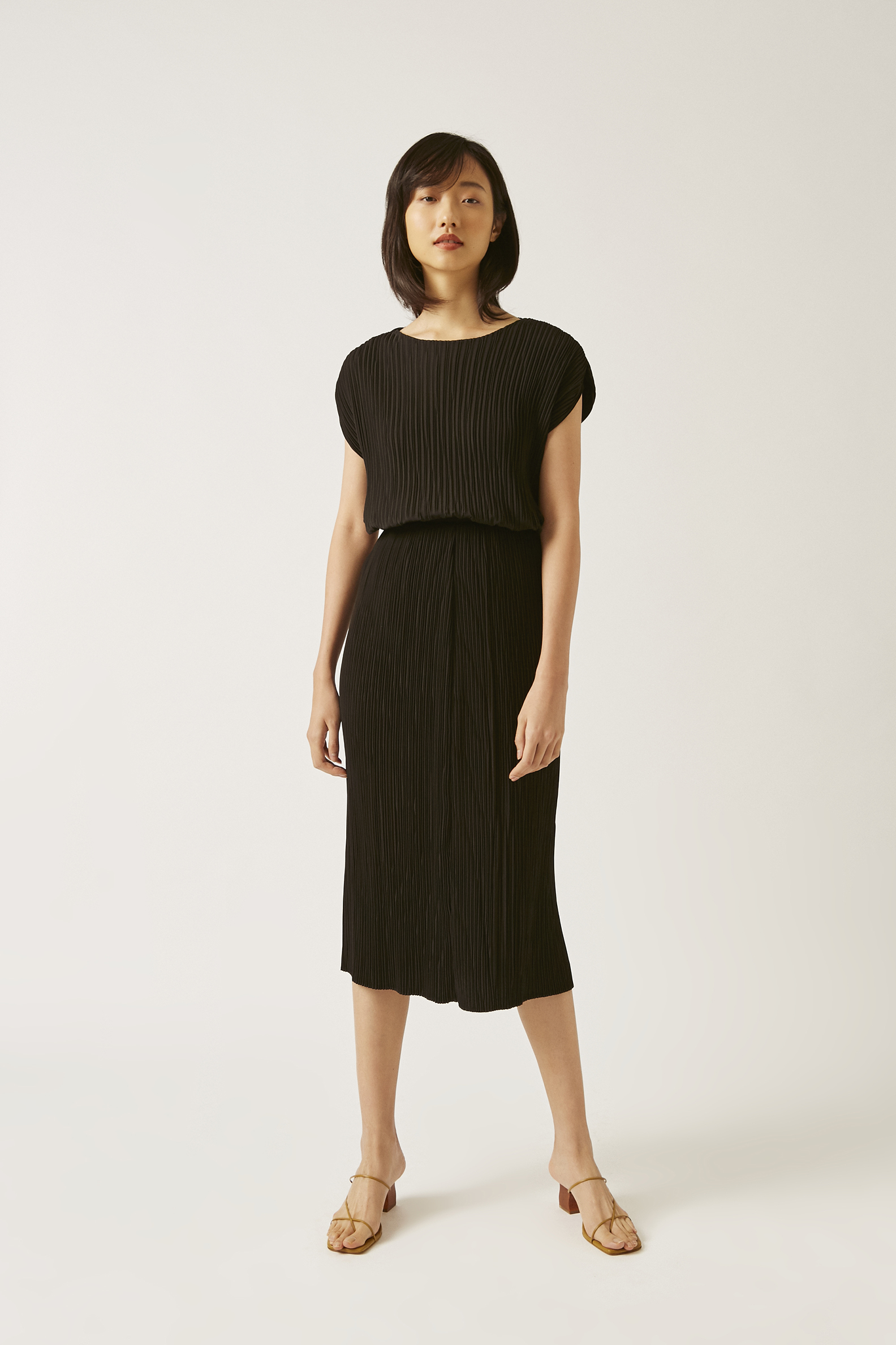Pleated Column Skirt