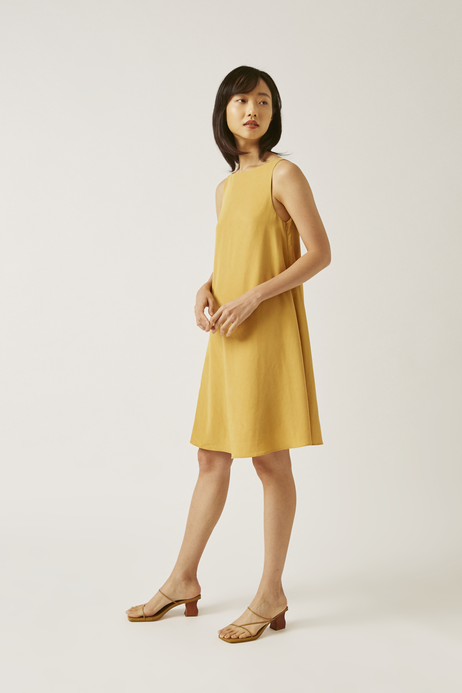 Viscose Boat-Neck Shift Dress