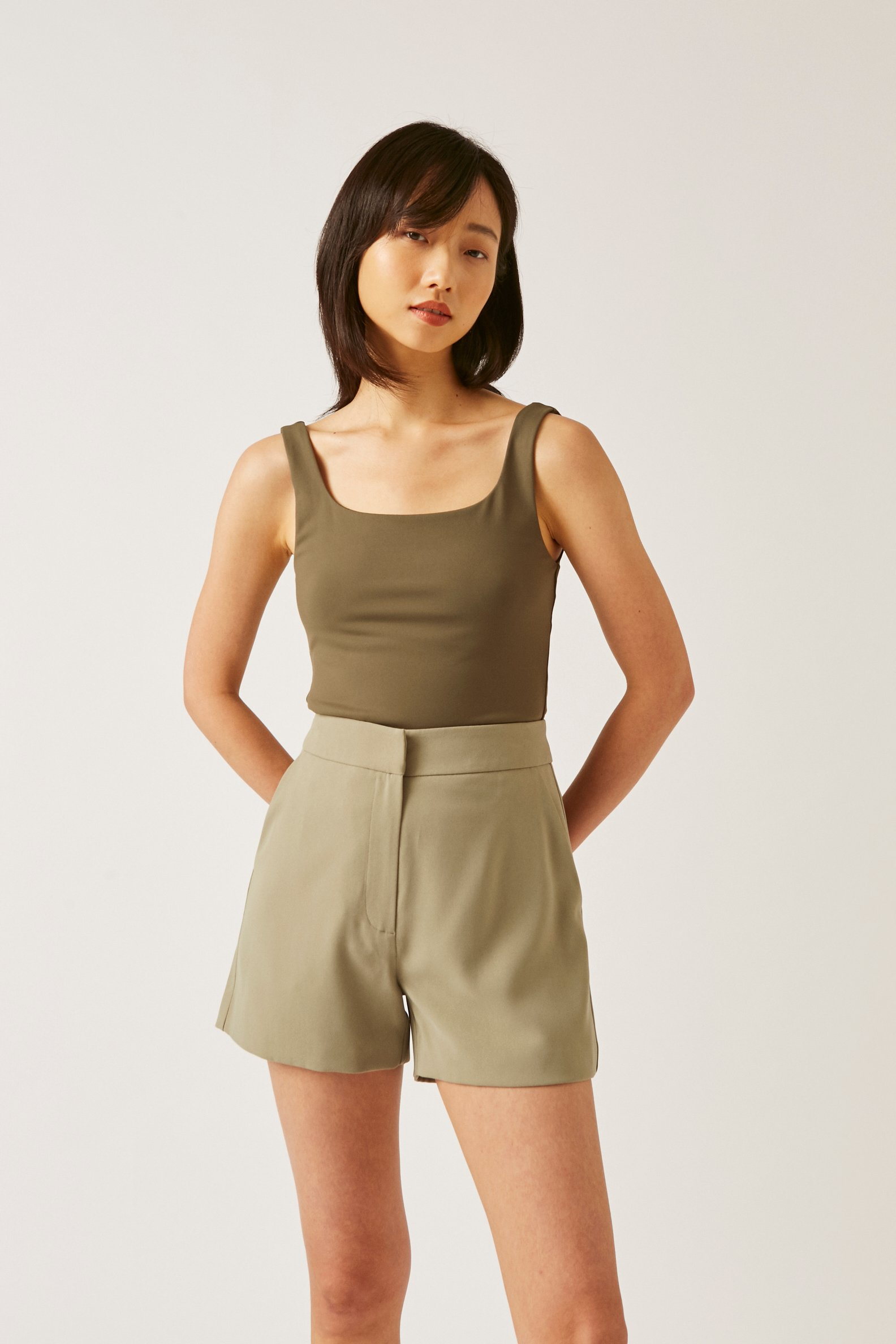 Crepe High-Waisted Shorts