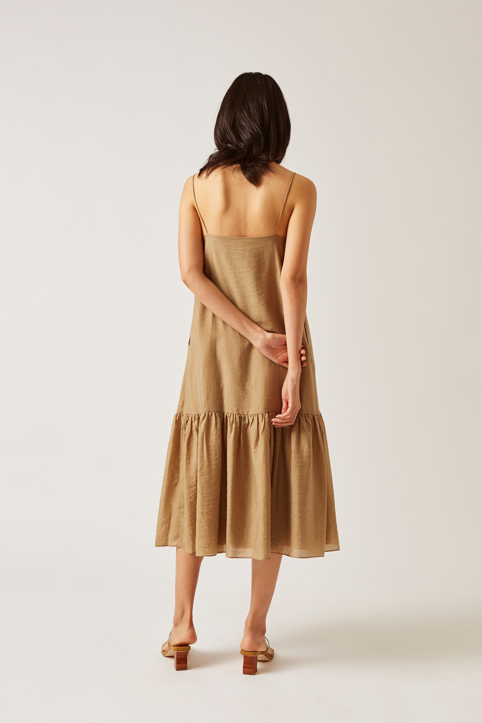 Viscose Gathered Midi Dress