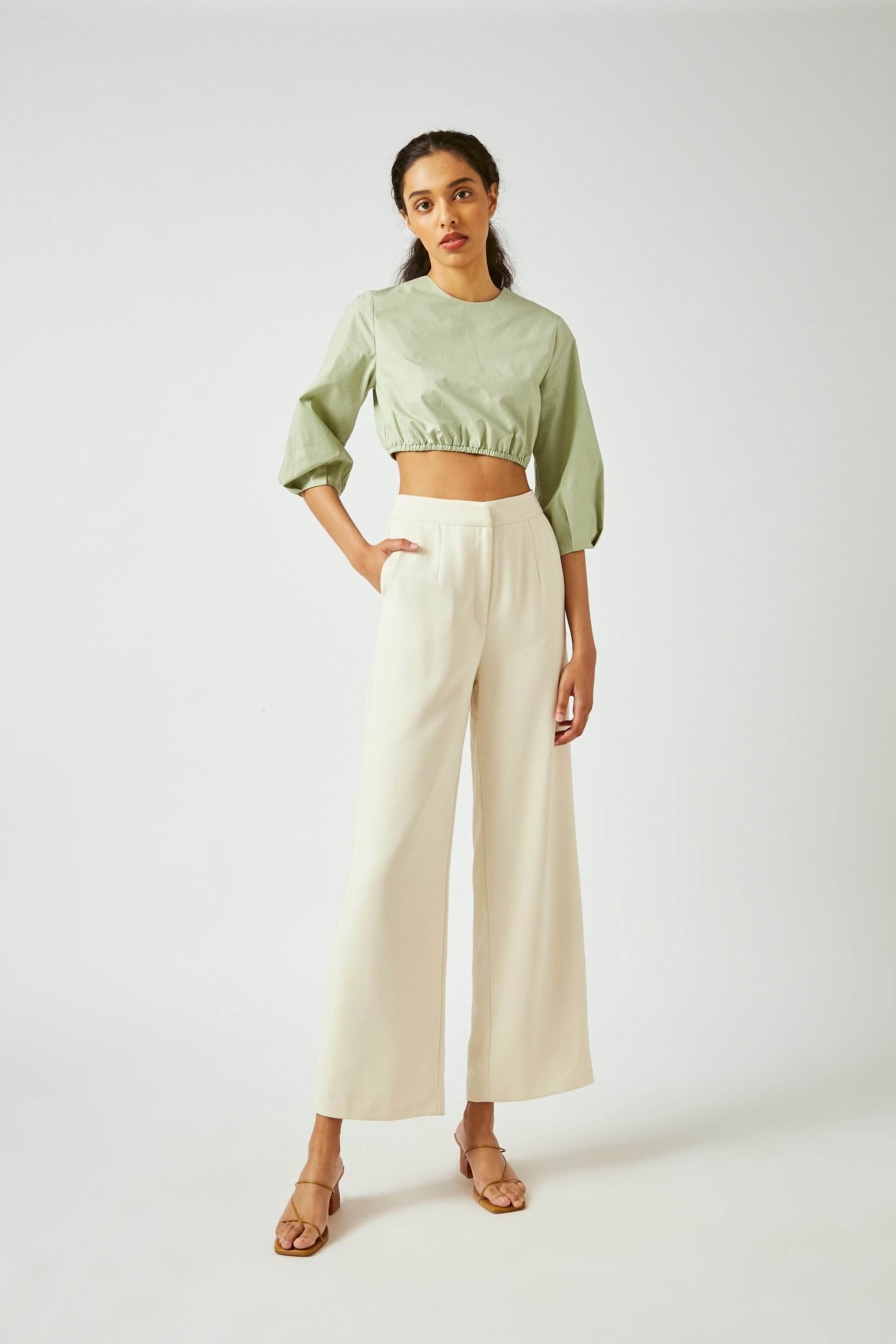 Crepe Full-Length Pants