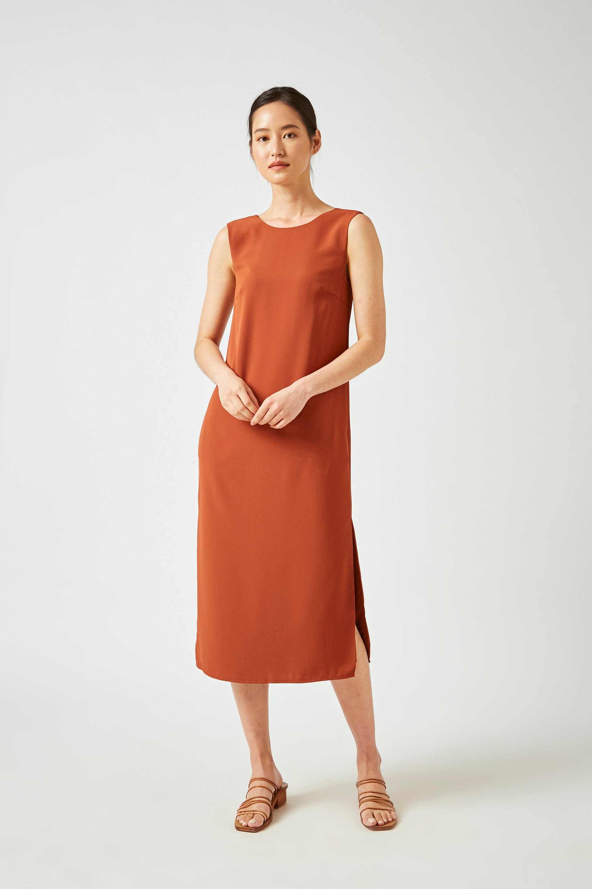 Square-Back Midi Dress