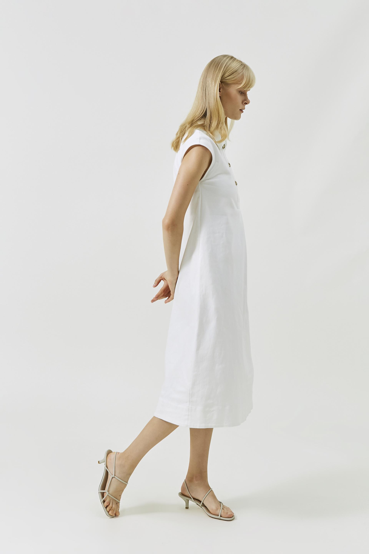 Collared Cotton Midi Dress