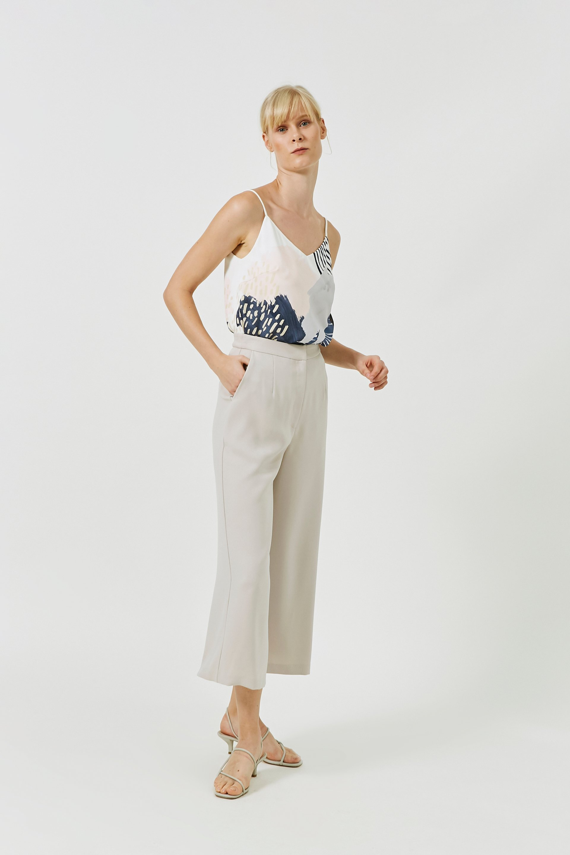 Crepe High-Waisted Trousers