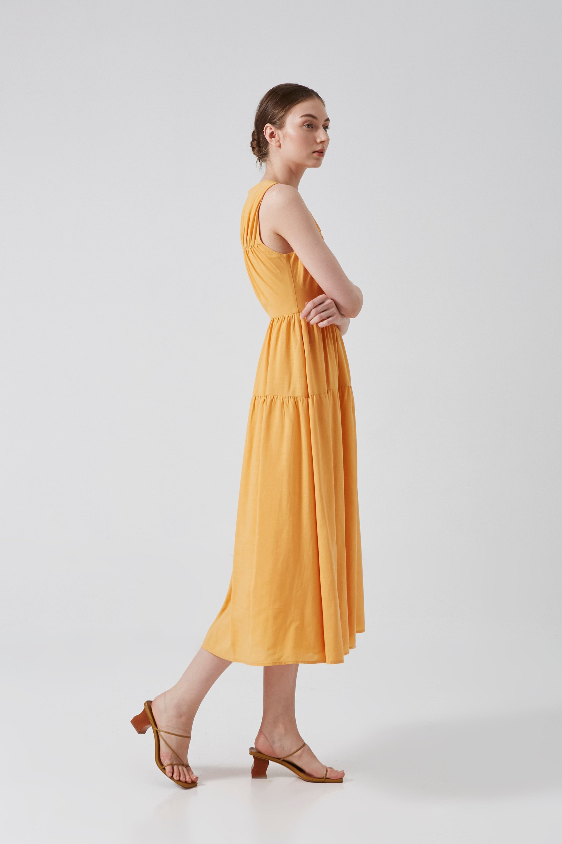 Gathered Seam Round-Neck Midi Dress