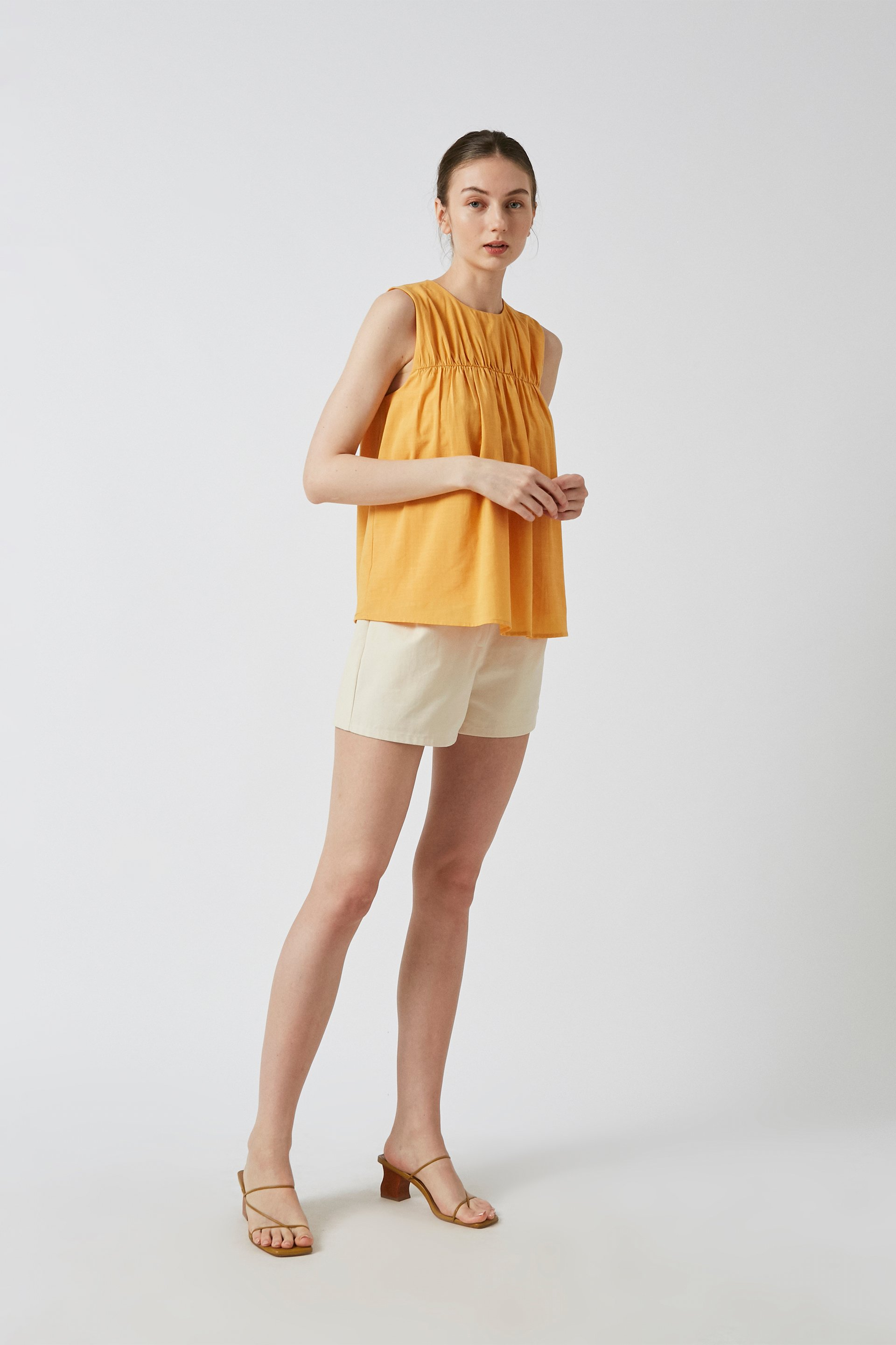 Cotton High-Waisted Pleat Shorts