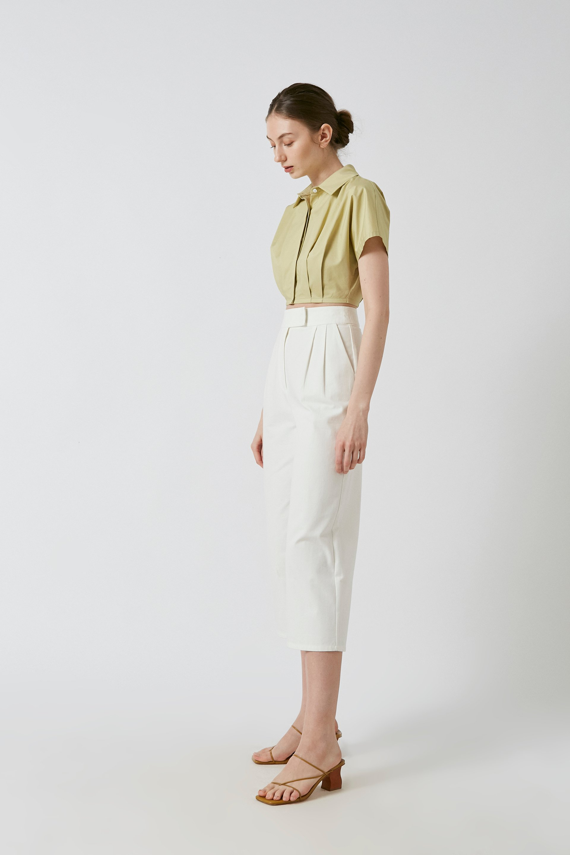 Cotton Pleated Cropped Shirt