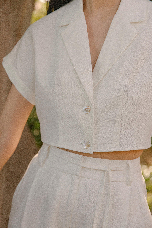 Linen Crop Overshirt