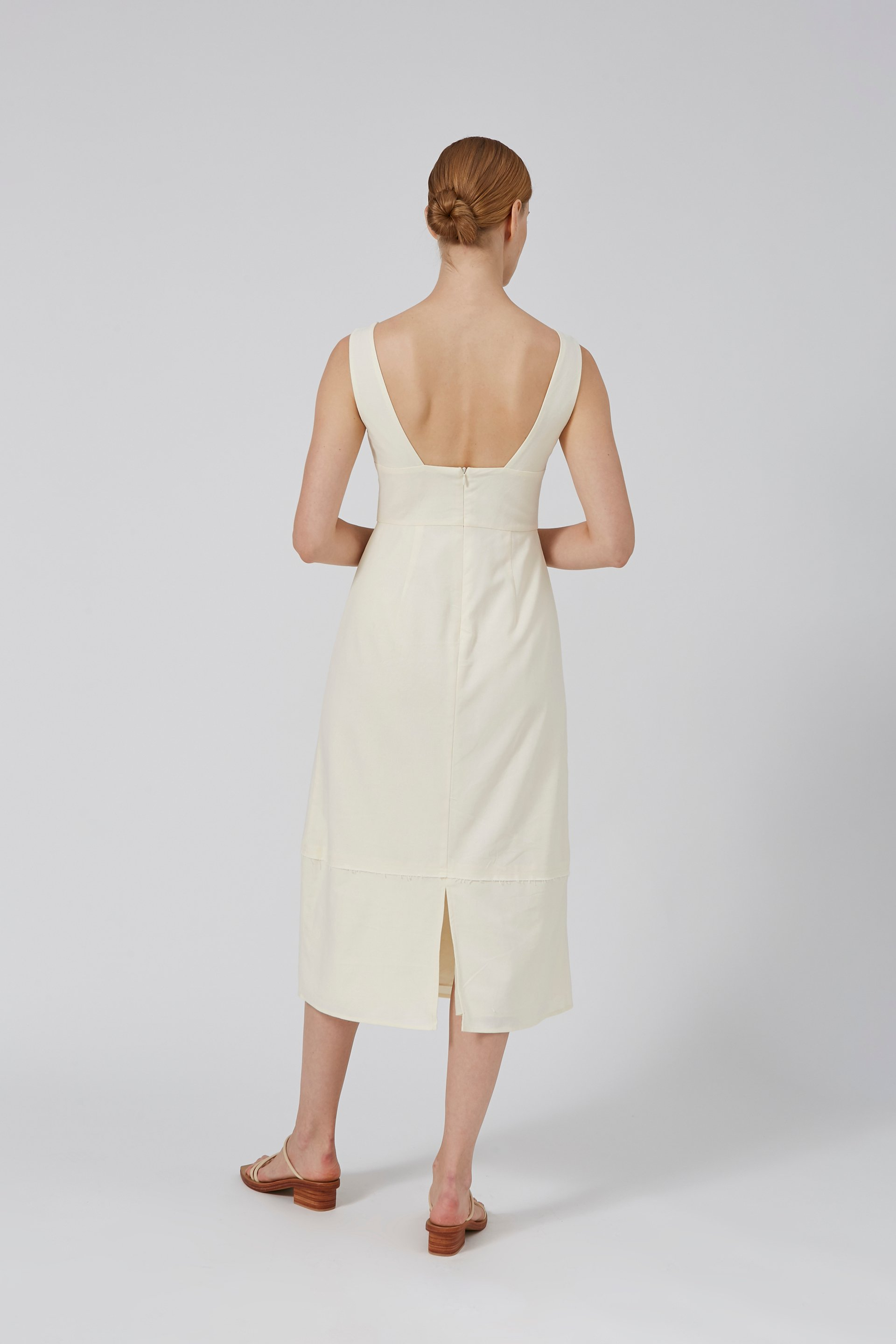 Linen Fitted Midi Dress