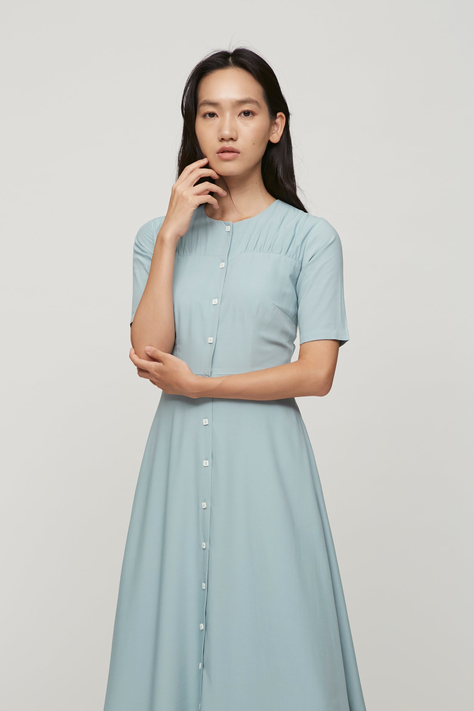 Contrast Button Midi Dress