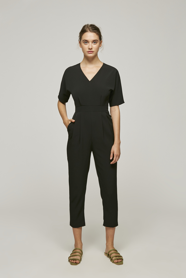 V-Neck Fitted Jumpsuit