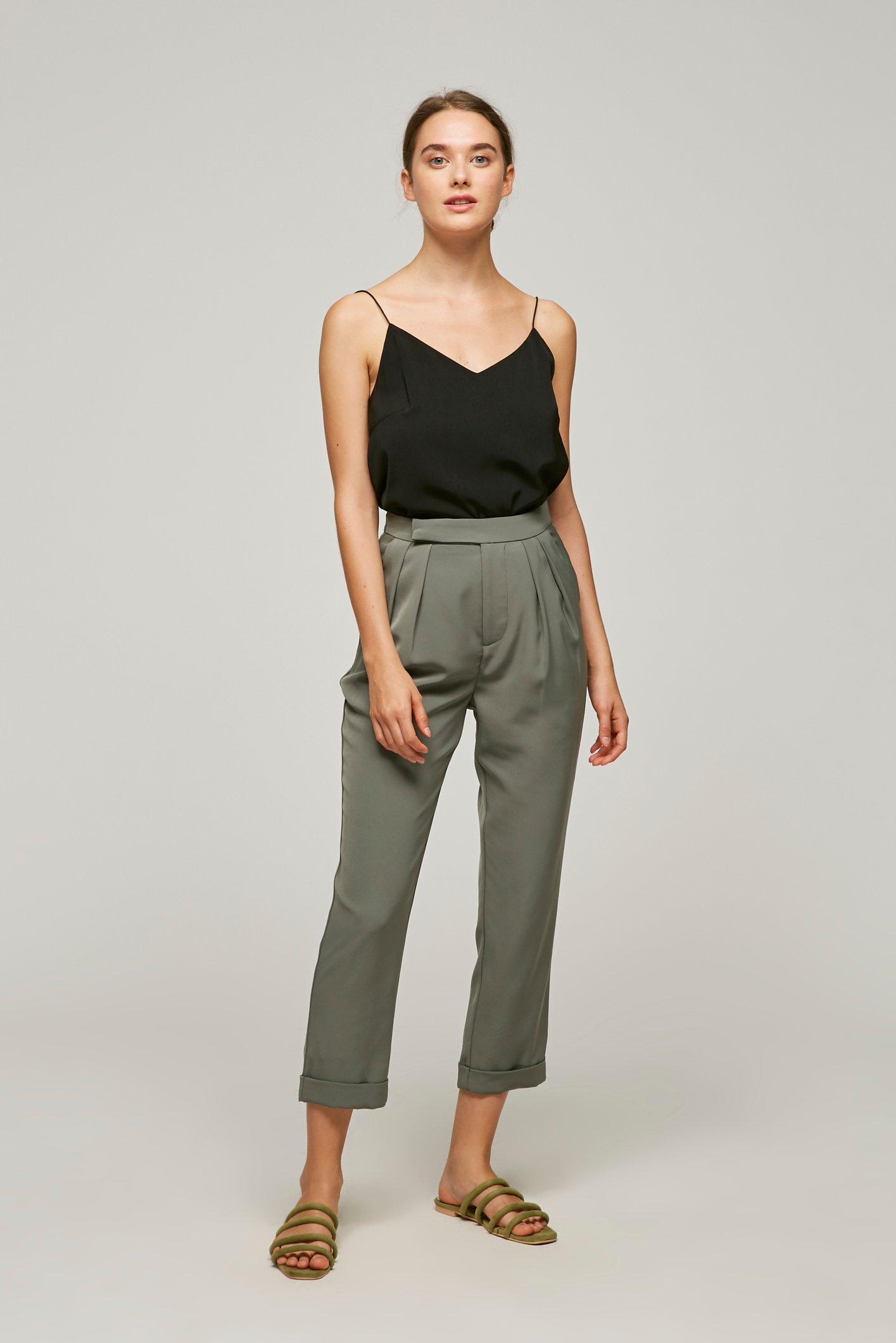 High-Waisted Pleat Pants