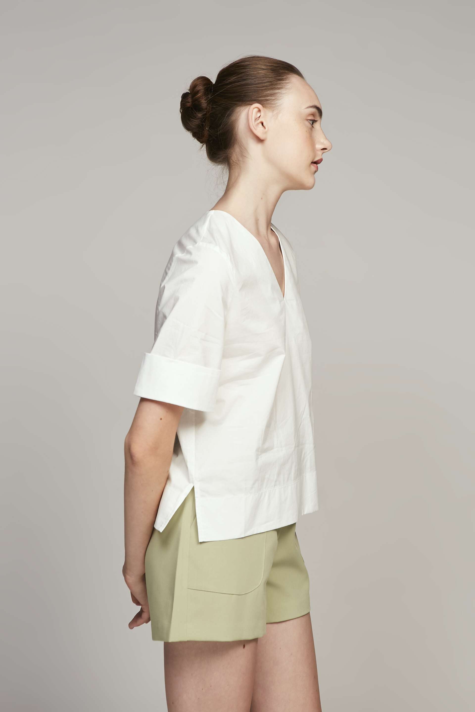 V-Neck Cotton Blouse